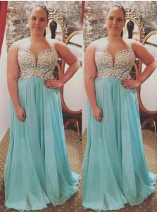 A-Line Sweetheart Sweep Train Turquoise Chiffon Plus Size Prom Dress with Beading