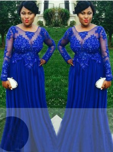 A-Line Round Neck Royal Blue Tulle Plus Size Prom Dress with Appliques Beading