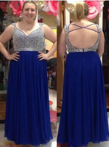 A-Line Scoop Open Back Blue Chiffon Plus Size Prom Dress with Beading