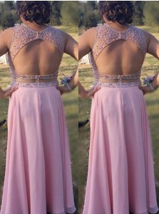 A-Line Round Neck Open Back Pink Chiffon Plus Size Prom Dress with Beading