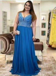 A-Line V-Neck Sweep Train Blue Chiffon Plus Size Prom Dress with Beading