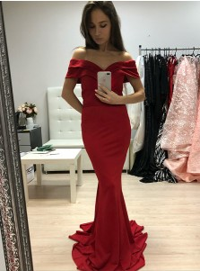 Mermaid Off-the-Shoulder Sweep Train Red Satin Prom Dress
