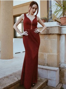Sheath Scoop Low-cut Red Satin Prom Dress with Beading