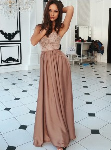 A-Line Spaghetti Straps Brown Satin Prom Dress with Sequins