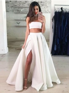Two Piece Strapless Floor Length White Lace Prom Party Dress with Split