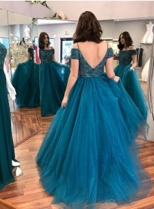 A-Line Off-the-Shoulder Turquoise Tulle Prom Dress with Lace Beading