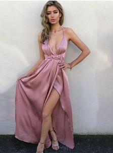 A-Line V-Neck Criss-Cross Back Blush Elastic Satin Prom Dress with Split
