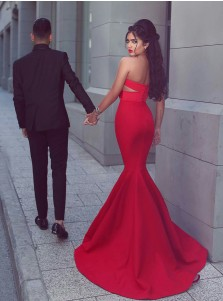 Mermaid Sweetheart Sweep Train Keyhole Cut Out Red Stretch Satin Prom Dress