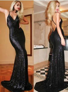 Mermaid V-Neck Sweep Train Criss-Cross Straps Black Sequined Prom Dress