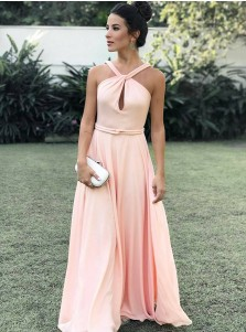 A-Line Halter Sweep Train Sleeveless Keyhole Pink Chiffon Prom Dress