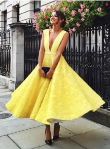 A-Line Deep V-Neck Ankle-Length Sleeveless Yellow Satin Prom Dress with Appliques