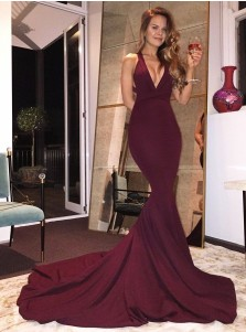 Mermaid V-Neck Criss-Cross Back Burgundy Elastic Satin Prom Dress