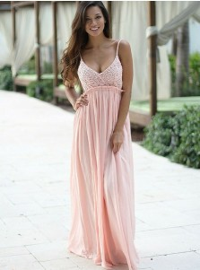 A-Line V-Neck Sleeveless Long Pink Chiffon Prom Dress with Lace Top
