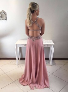 A-Line Round Neck Open Back Blush Chiffon Prom Dress with Beading