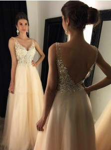 A-Line V-Neck Light Pink Tulle Prom Dress with Appliques Beading