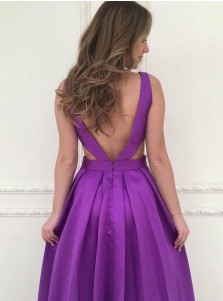 A-Line V-Neck Backless Floor-Length Purple Satin Prom Dress