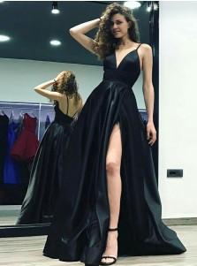 A-Line Spaghetti Straps Floor-Length Black Satin Prom Dress with Split