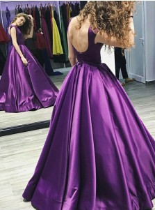 A-Line Bateau Floor-Length Pleated Purple Satin Prom Dress