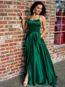 A-Line Spaghetti Straps Green Elastic Satin Prom Dress with Split Pocket