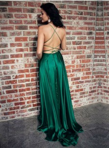 A-Line Spaghetti Straps Green Elastic Satin Prom Dress with Split Pocket