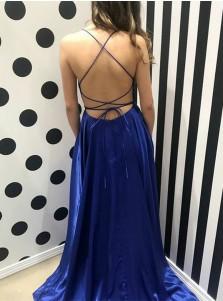 A-Line Spaghetti Straps Royal Blue Chiffon Backless Prom Dress
