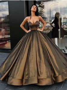 Ball Gown Sweetheart Floor-Length Brown Satin Beaded Quinceanera Dress