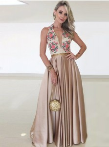 A-Line Halter Sweep Train Blush Satin Prom Dress with Lace Appliques