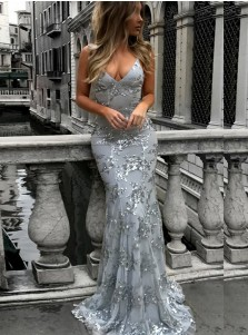 Mermaid Spaghetti Straps Grey Lace Prom Dress with Sequined