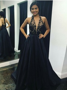 A-Line V-Neck Sweep Train Black Stain Prom Dress with Appliques Pockets