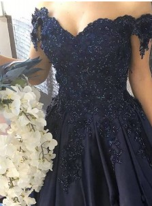Ball Gown Off-the-Shoulder Navy Blue Satin Prom Dress with Appliques Beading