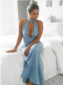 Mermaid Halter Floor-Length Keyhole Blue Stretch Satin Prom Dress with Appliques