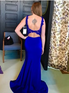 Mermaid Straps Open Back Royal Blue Stretch Satin Prom Dress with Appliques