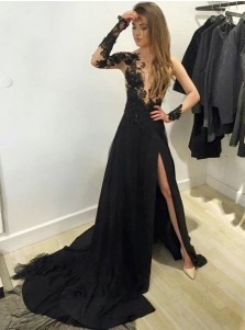 A-Line V-Neck Long Sleeves Split-Side Black Chiffon Prom Dress with Appliques
