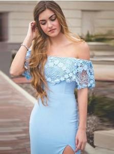 Sheath Off-the-Shoulder Light Blue Prom Dress with Lace Split