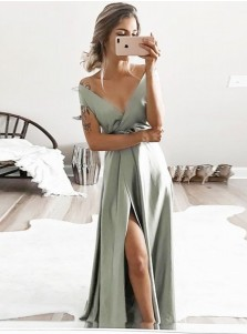 A-Line V-Neck Sweep Train Sage Satin Prom Dress