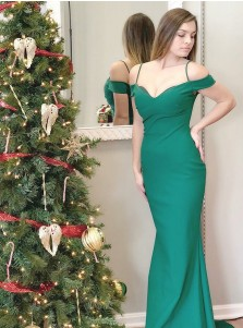 Sheath Off-the-Shoulder Sweep Train Green Stretch Satin Prom Dress