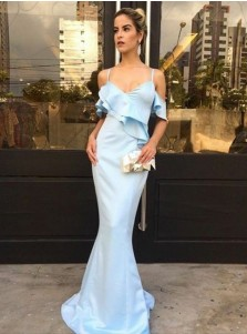 Mermaid Spaghetti Straps Light Blue Satin Prom Dress with Ruffles