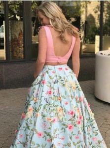 Two Piece V-Neck Sweep Train Pink Floral Satin Prom Dress