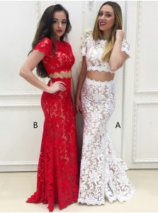 Two Piece Mermaid Round Neck Short Sleeves White Lace Prom Dress