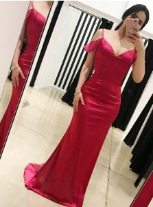 Mermaid Cold Shoulder Open Back Red Elastic Satin Prom Dress