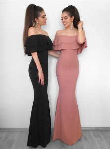 Mermaid Off-the-Shoulder Black Elastic Satin Evening Prom Dress with Ruffles