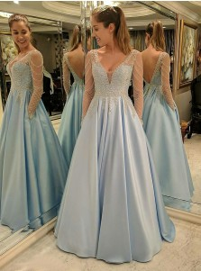 A-Line V-Neck Long Sleeves Blue Satin Prom Dress with Lace Beading