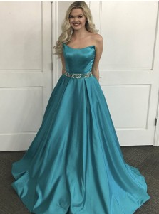 A-Line Strapless Sweep Train Turquoise Satin Prom Dress with Beading