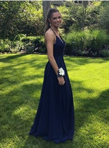 A-Line Spaghetti Straps Floor-Length Navy Blue Chiffon Prom Dress