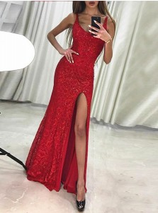 Sheath Scoop Sleeveless Red Lace Prom Dress with Beading