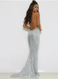 Mermaid Spaghetti Straps Backless Sliver Sequined Prom Dress