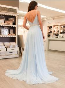 A-Line V-Neck Light Blue Chiffon Prom Dress with Beading