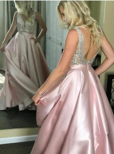 A-Line V-Neck Floor-Length Pink Satin Prom Dress with Beading