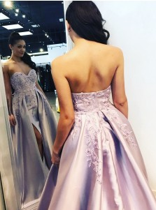 A-Line Sweetheart Sweep Train Lilac Satin Prom Dress with Appliques Split