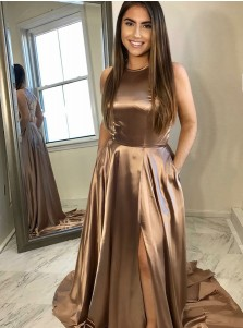 A-Line Round Neck Brown Satin Prom Dress with Split